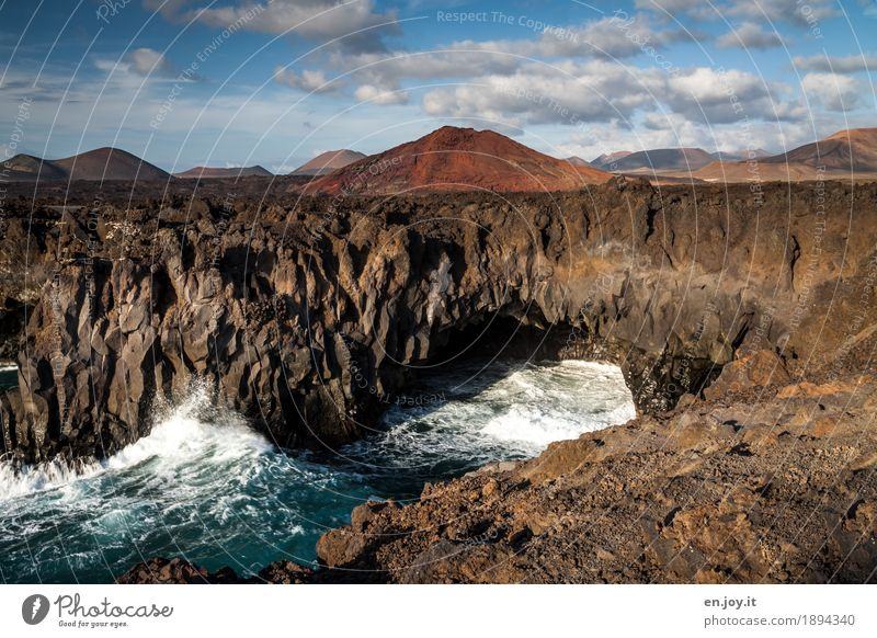 Los Hervideros Vacation & Travel Summer vacation Ocean Waves Nature Landscape Elements Sky Clouds Volcano Coast Island Lanzarote Canaries Cliff Lava Lava field