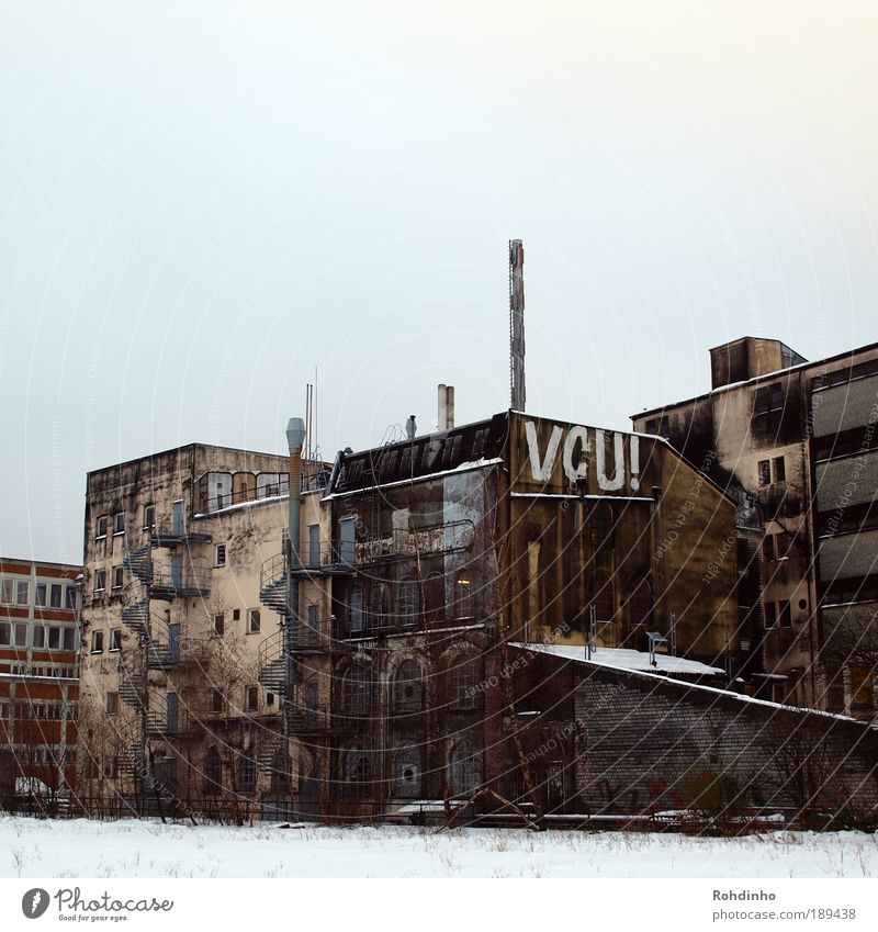 VCU! House (Residential Structure) Redecorate Old Dirty Cold Broken Original Brown Gray Authentic Moody Snow layer Facade Graffiti Logo Architecture Industry