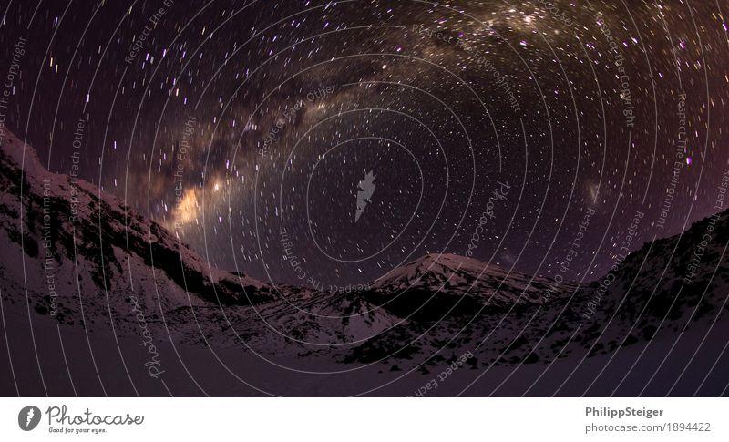 Cold night in Tongariro National Park II Environment Nature Landscape Sky Cloudless sky Night sky Stars Climate Mountain Peak Snowcapped peak Freeze Illuminate