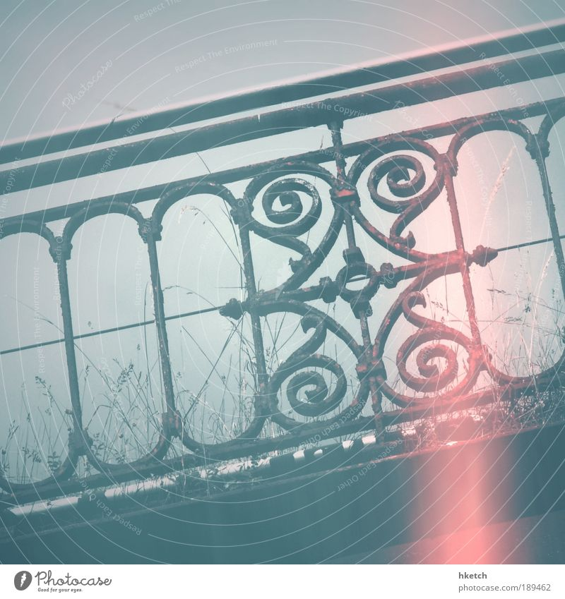 Loneliness Grass Railroad Historic Handrail Grating Bridge railing Light leak