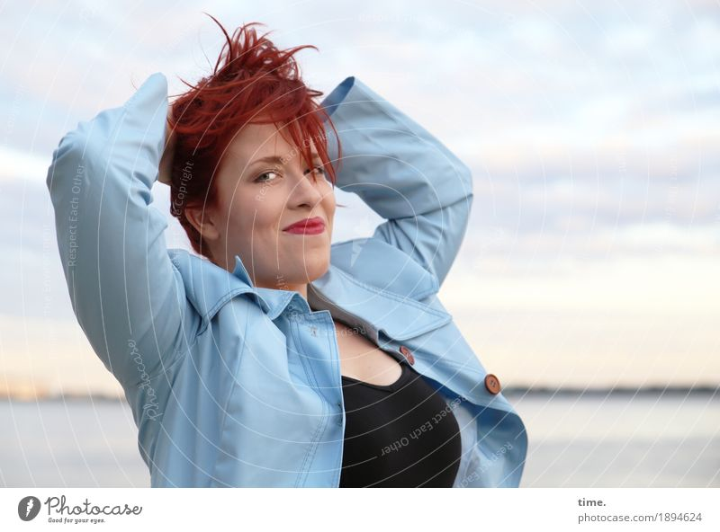 . Feminine Woman Adults 1 Human being Coast River bank T-shirt Coat Red-haired Long-haired Observe To hold on Smiling Looking Wait Fresh Beautiful Happy