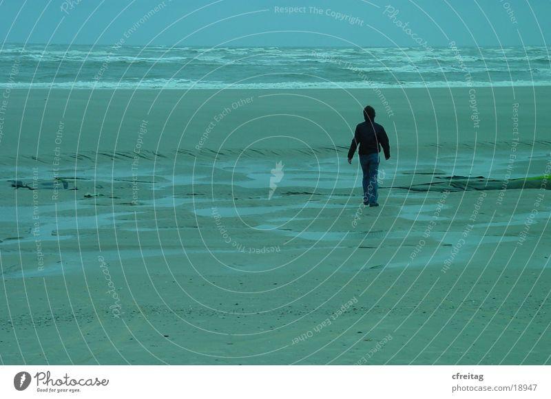 Human being Water Ocean Beach Lanes & trails Going Walking Escape Langeoog