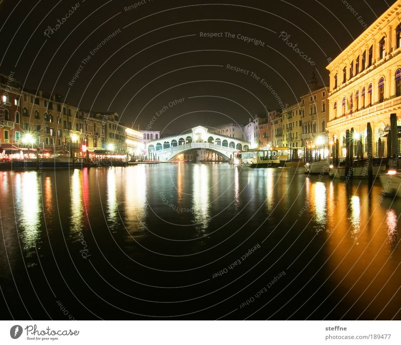 Water Beautiful Vacation & Travel Calm Facade Bridge Tourism River Night Italy Luxury Navigation Landmark Beautiful weather City Venice