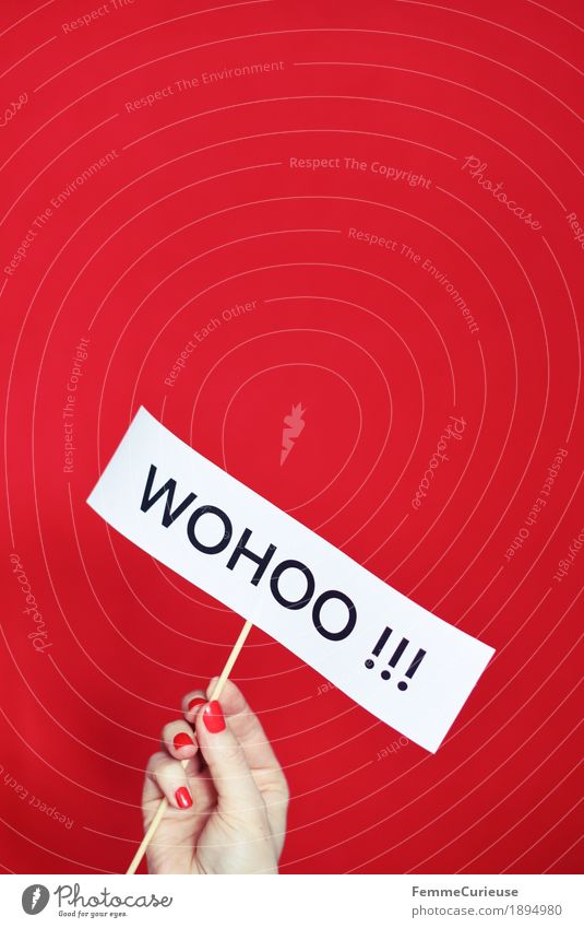 Whoo-hoo!!! Feminine Hand Joy wohoo Nail polish Fingers wooden skewer Uphold Red Characters Letters (alphabet) Great Figure of speech Happy Paper Colour photo