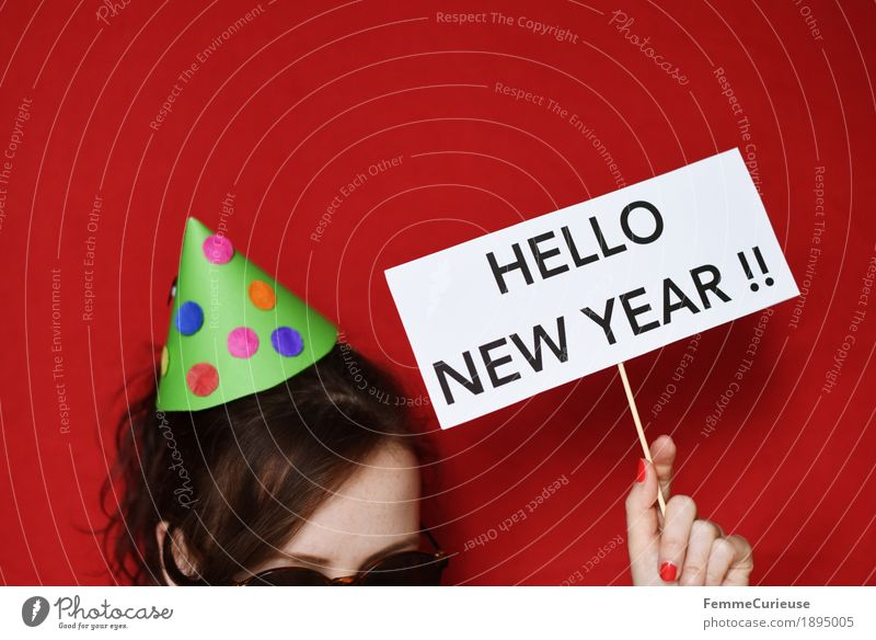 Human being Red Joy Feminine Feasts & Celebrations Characters Signs and labeling Paper New Year's Eve Hat Sunglasses Home-made New Year's Party