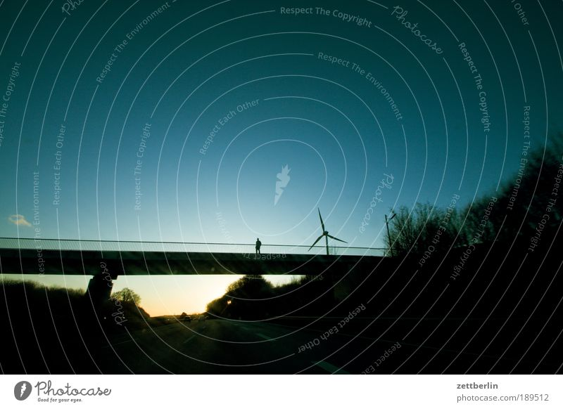 Human being Sky Vacation & Travel Loneliness Street Power Energy Force Energy industry Bridge Driving Logistics Travel photography Highway Wind energy plant