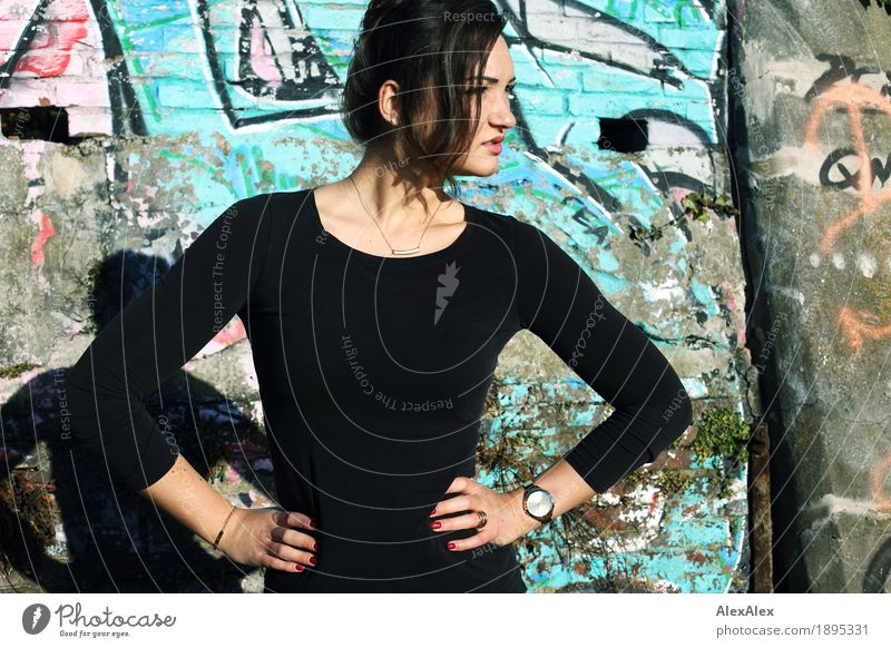 edified Beautiful Young woman Youth (Young adults) 18 - 30 years Adults Youth culture Subculture Beautiful weather Graffiti Wall (barrier) Wall (building) Top