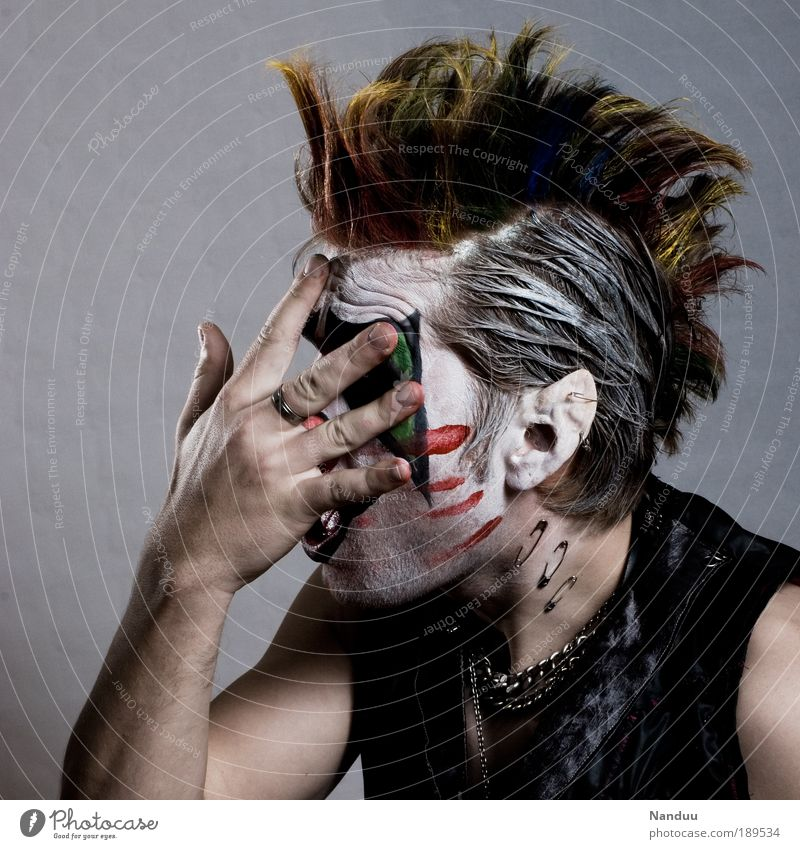 Human being Man Youth (Young adults) Hand Adults Dye Exceptional Young man Masculine Crazy Cosmetics Portrait photograph Carnival Creepy Whimsical Profession