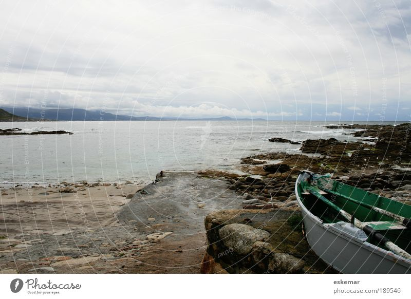 Water Ocean Vacation & Travel Loneliness Far-off places Landscape Moody Coast Horizon Rock Gloomy Authentic Watercraft Transience Infinity Bay