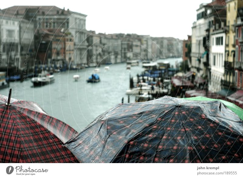 why does it always rain on me Autumn Bad weather Rain Venice Italy Canal Grande Boating trip Ferry Watercraft Gondola (Boat) Umbrella Subdued colour