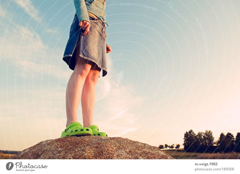 Getting High Trip Summer Hiking Climbing Feminine Young woman Youth (Young adults) Legs Feet 1 Human being 18 - 30 years Adults Nature Landscape Sky Sunrise