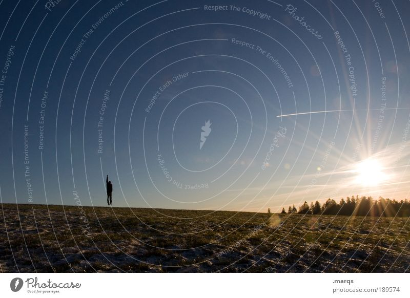 Human being Sun Joy Loneliness Far-off places Life Landscape Freedom Jump Style Ice Contentment Field Earth Trip Tourism
