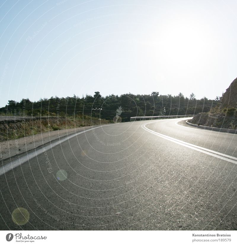south curve Sky Sun Summer Beautiful weather Tree Bushes Transport Traffic infrastructure Road traffic Motoring Street Country road Crash barrier Curve Driving