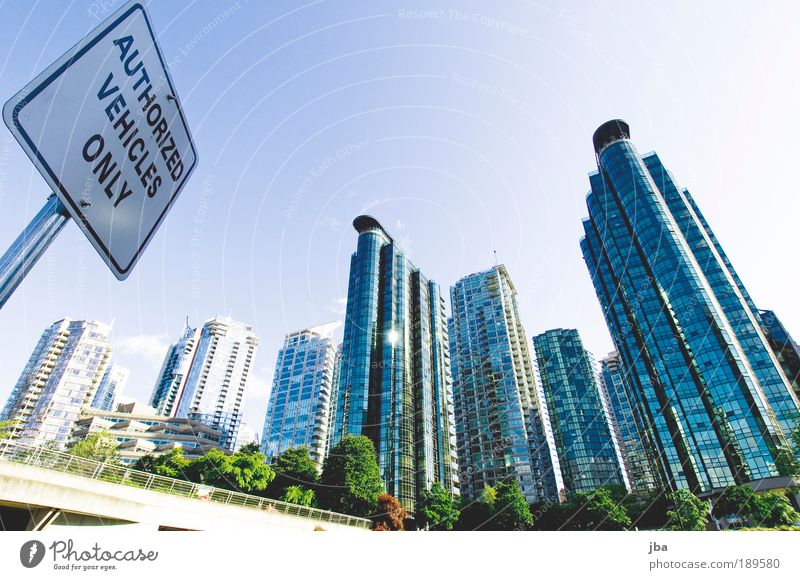 Sky City Blue House (Residential Structure) Metal Glass High-rise Facade Modern Building New Skyline Signage Canada Upward