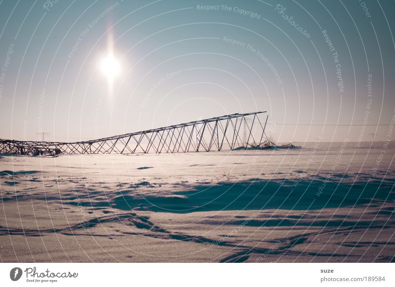 Sky Sun Winter Landscape Environment Cold Snow Lie Climate Energy industry Authentic Dangerous Electricity Beautiful weather Broken Industry
