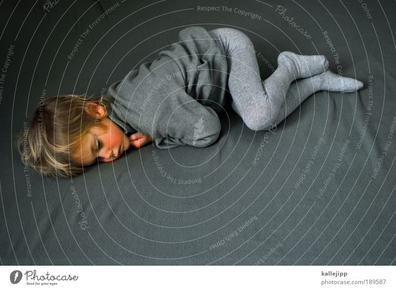 waking Human being Boy (child) Infancy Life Body 1 3 - 8 years Child Sweater Jacket Tights Lie Sleep Looking Dream Sadness Living or residing Gray Compassion