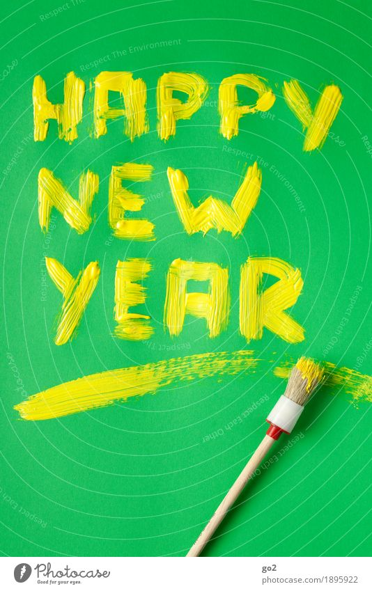 happy new year Joy Happy Feasts & Celebrations New Year's Eve Paints and varnish Colour Paintbrush Characters Esthetic Happiness Yellow Green