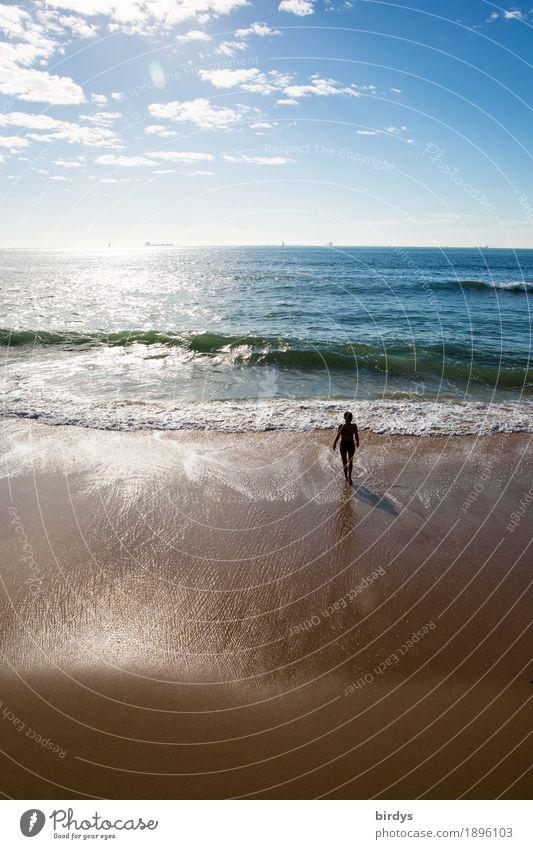 Human being Woman Sky Vacation & Travel Ocean Clouds Beach Adults Movement Coast Feminine Going Horizon Leisure and hobbies Waves Idyll