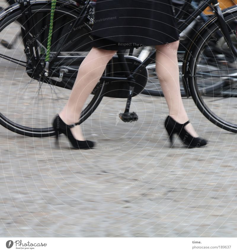 Black Street Footwear Legs Bicycle Metal Going Road traffic Walking Metalware Skirt Wheel Cobblestones Tire Coat Half