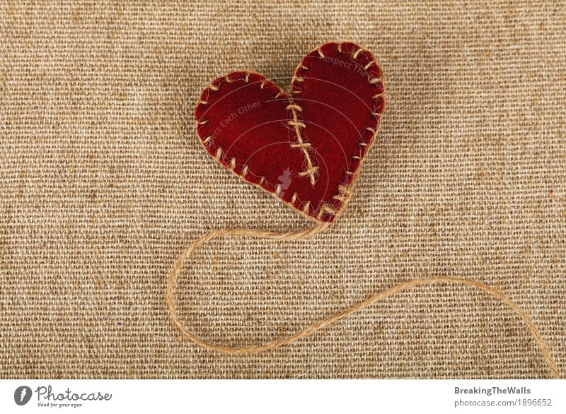 Brown Felt Craft Heart With Jute Twine Thread On Canvas A Royalty