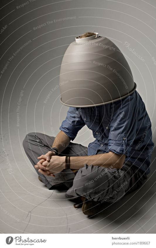pot on head Human being Masculine Man Adults 1 Crouch Wait concealed head Anonymous Studio shot Reflector Concealed Sit Neutral Funny Grotesque Strange Dress up