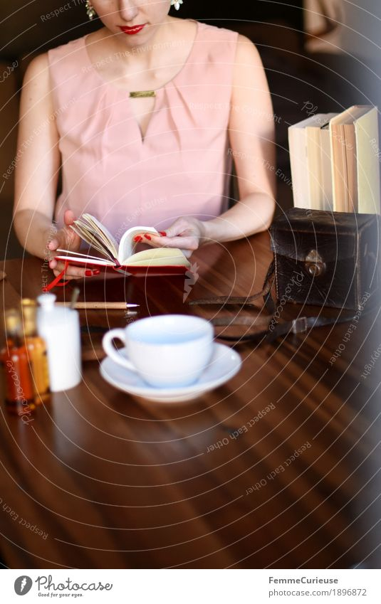 Human being Woman Youth (Young adults) Young woman 18 - 30 years Adults Feminine Pink Leisure and hobbies Elegant Sit Book Reading Coffee Dress Wooden table