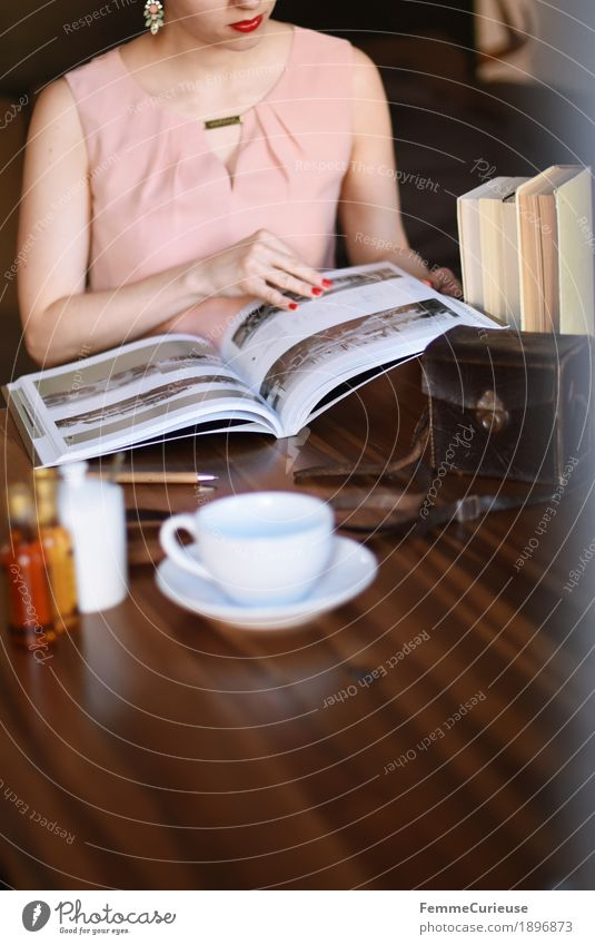 Human being Woman Youth (Young adults) Young woman 18 - 30 years Adults Feminine Pink Elegant Sit Book Photography Reading Coffee Dress Camera