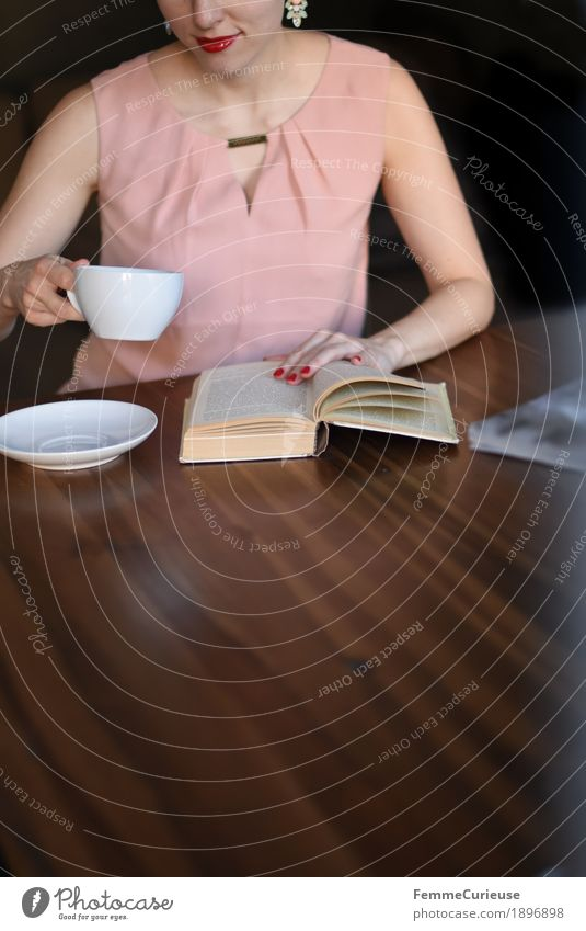 Woman Youth (Young adults) Young woman 18 - 30 years Adults Feminine Pink Sit To enjoy Book Reading Coffee Drinking Dress Café Wooden table