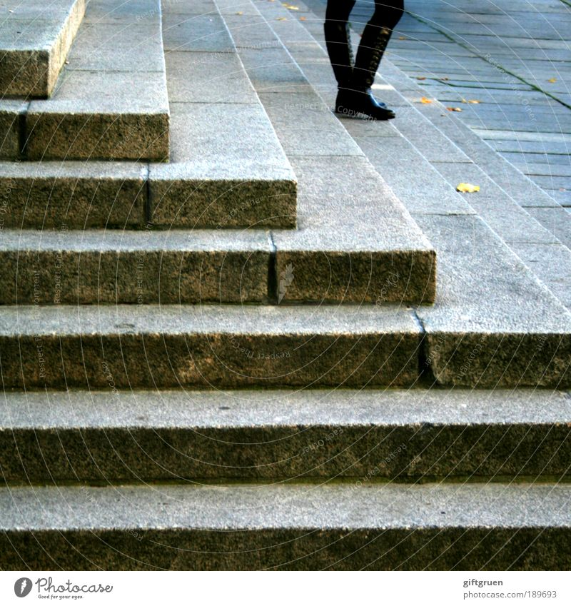 all alone i stand and wait Human being Feminine Legs 1 Town Manmade structures Building Stairs Leather Boots Stand Wait Prompt Endurance Unwavering Curiosity