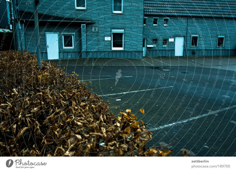 Winter House (Residential Structure) Loneliness Autumn Death Sadness Building Architecture Grief Gloomy Longing Entrance Parking lot Doomed Hedge