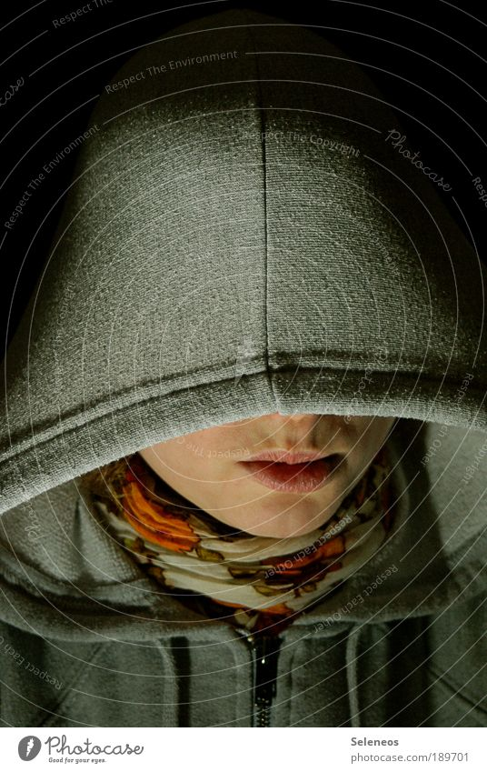 Human being Face Dark Emotions Head Mouth Fear Clothing Threat Jacket Cap Sweater Scarf Rag Visible