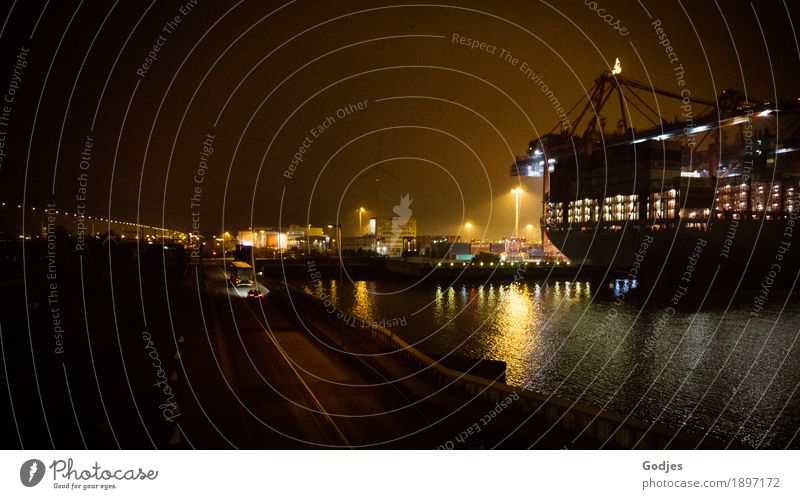 Container ship in the port of Hamburg at night Industry Capital city Port City Deserted Means of transport Traffic infrastructure Logistics Navigation