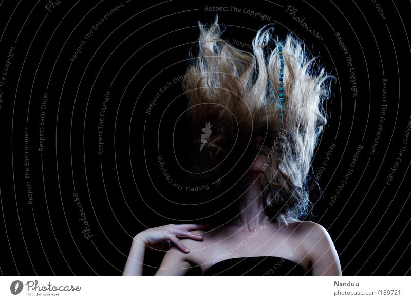 Who needs gravitation? Elegant Style Hair and hairstyles Human being Feminine 1 Blonde Crazy Whimsical Young lady Diva Surrealism Dance Colour photo