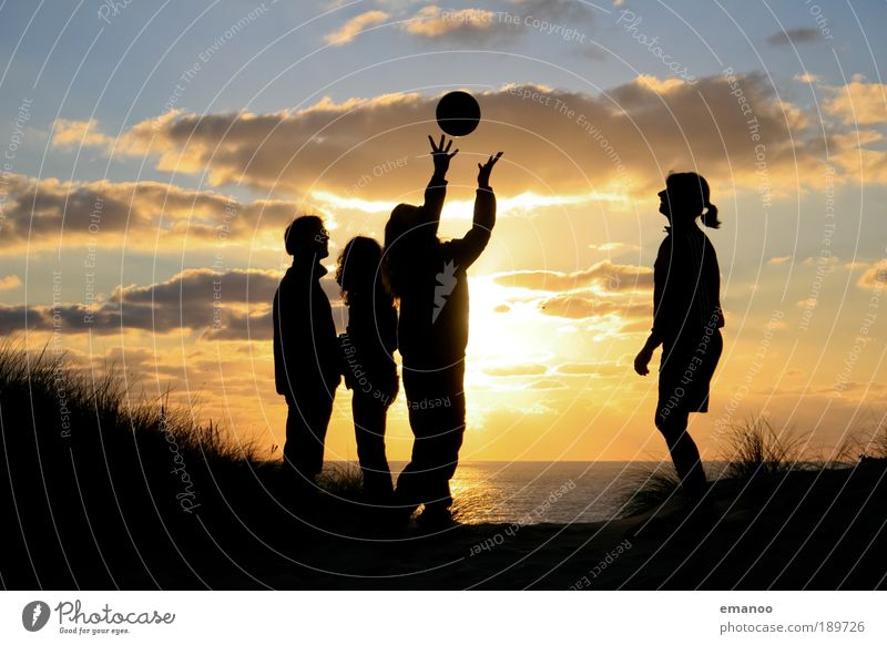 Human being Youth (Young adults) Sun Ocean Summer Joy Beach Vacation & Travel Silhouette Playing Sunset Freedom Group Laughter Friendship Contentment