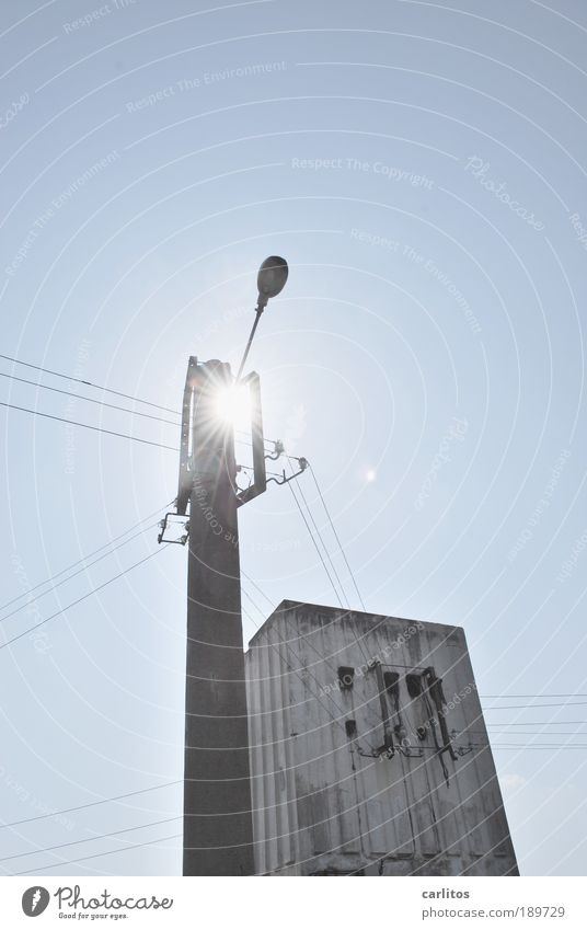 solar light Energy industry Solar Power Illuminate Old Sharp-edged Long Thin Blue Perspective Environment Decline Electricity Electricity pylon Cable Provision