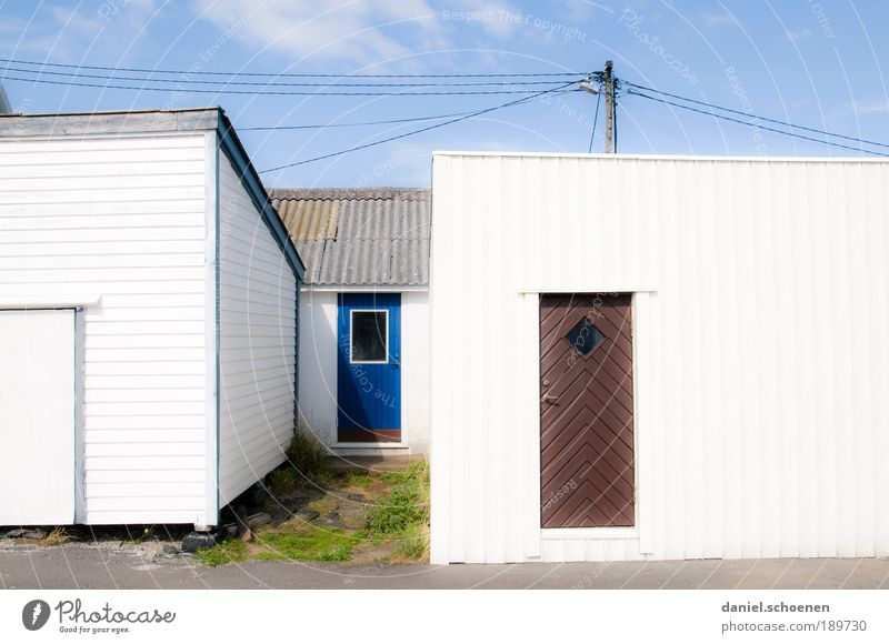light Beautiful weather Village House (Residential Structure) Architecture Sharp-edged Bright Blue White Abstract Door Facade Sweden Scandinavia Light Sunlight