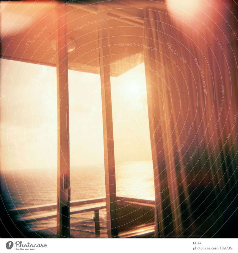 Summer wind and the sound of the sea Vacation & Travel Far-off places Freedom Ocean Bright Window Balcony Vantage point Wanderlust Vignetting Drape Ease