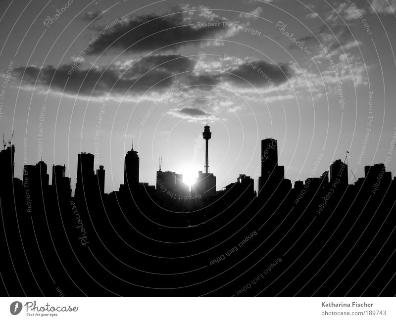 White City Vacation & Travel House (Residential Structure) Black Black & white photo Sunrise High-rise Silhouette Tourism Skyline Building Australia Sightseeing