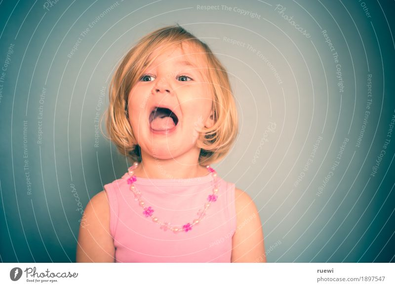 Human being Child Joy Girl Face Emotions Funny Feminine Playing Laughter Head Moody Pink Blonde Music Infancy