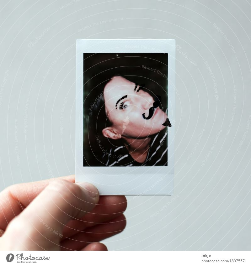 be out of the ordinary Lifestyle Joy Leisure and hobbies Woman Adults Face Hand 1 Human being 30 - 45 years Facial hair Moustache with a goatee beard Polaroid
