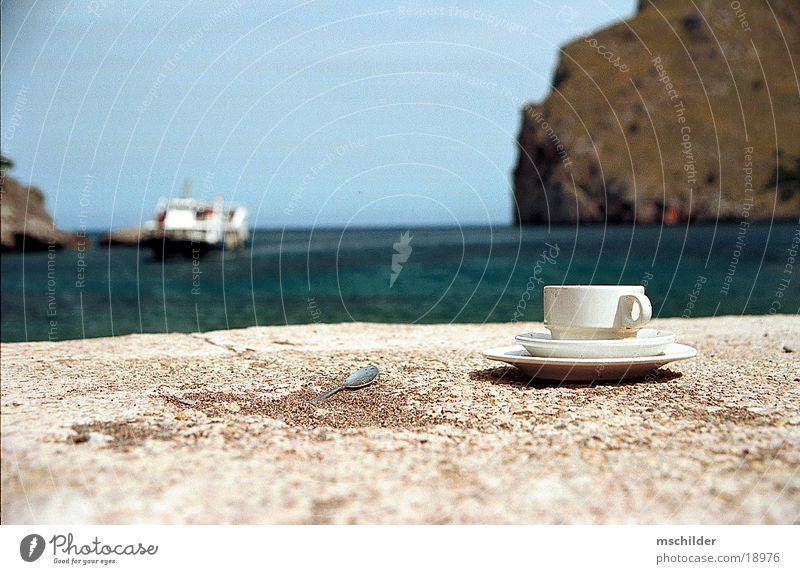 Coffee cup on the beach Majorca Ocean Beach Sa Callobra
