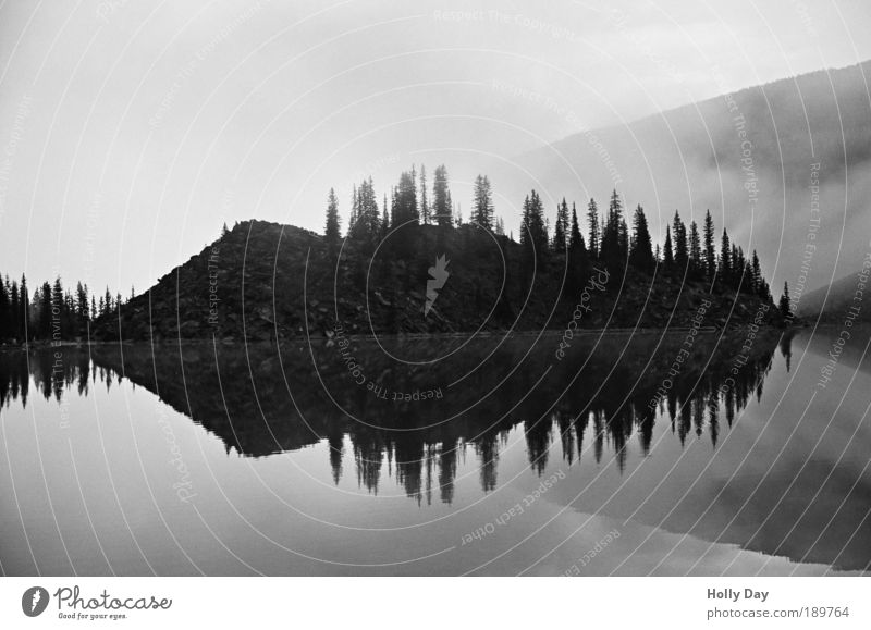 fog mirror Vacation & Travel Tourism Far-off places Island Mountain Nature Landscape Water Sunrise Sunset Autumn Fog Tree Lakeside Moraine lake Cold Fear