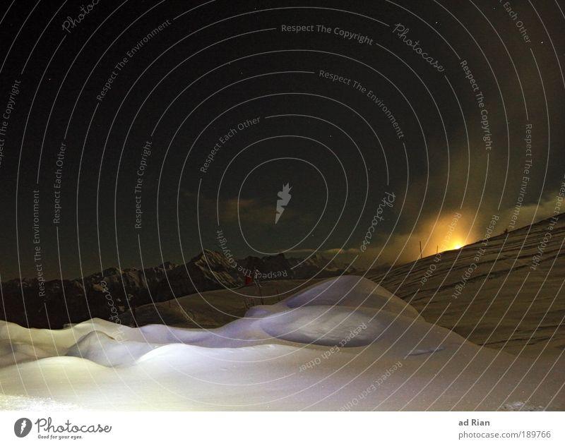 From Dusk Till Dawn Skis Ski run Nature Landscape Water Sky Clouds Night sky Stars Horizon Moon Full  moon Winter Ice Frost Snow Aurora Borealis Hill Alps