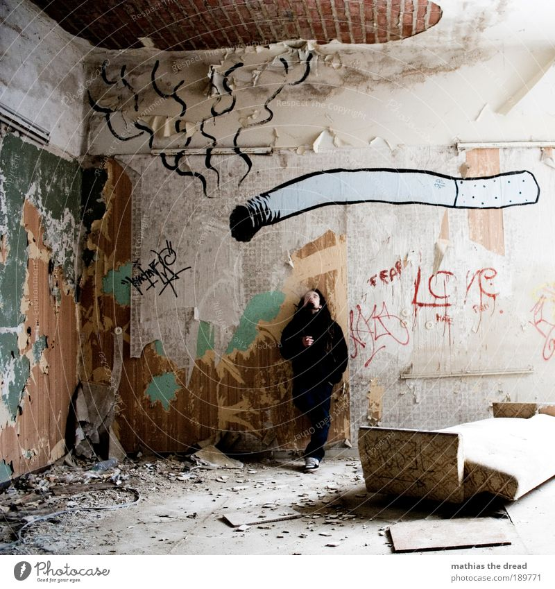 Human being Youth (Young adults) Culture Dark Cold Gastronomy Graffiti Adults Man Dirty Masculine Characters Lifestyle Interior design Broken