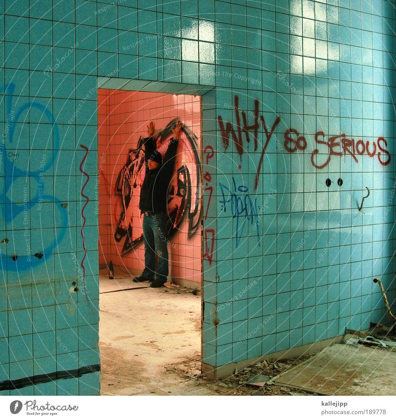 Human being Man Blue House (Residential Structure) Adults Graffiti Wall (building) Wall (barrier) Art Fear Masculine Dangerous Communicate Culture Sign