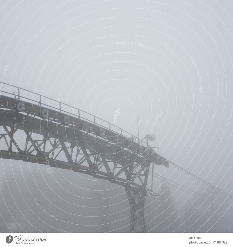 On the Abyss Trip Far-off places Climbing Mountaineering Bad weather Fog Manmade structures Means of transport Cable car Looking Threat Creepy Gloomy Gray