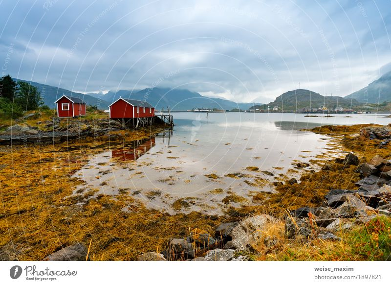 Norwegian hut rorbu on bay coast. Nordic cloudy summer day Sky Nature Vacation & Travel Summer Ocean Landscape Clouds House (Residential Structure) Far-off places Mountain Coast Wood Freedom Stone Tourism Rock