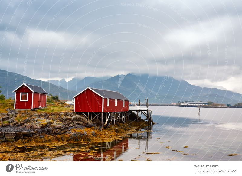Norwegian hut rorbu on bay coast. Nordic cloudy summer day Sky Nature Summer Water Ocean Landscape Clouds House (Residential Structure) Far-off places Mountain Coast Wood Freedom Tourism Rock Weather