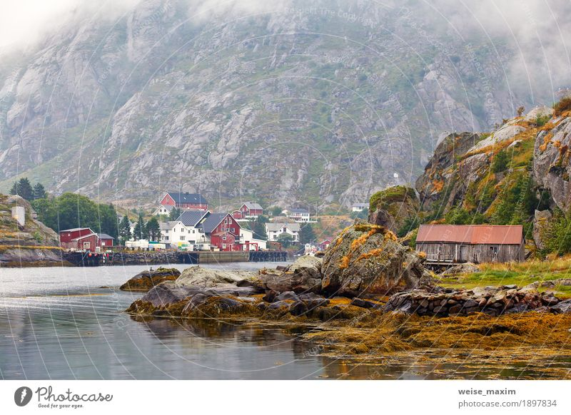 Norway village on a fjord. Nordic cloudy summer day Sky Nature Vacation & Travel Summer Landscape Ocean Clouds House (Residential Structure) Mountain Coast Freedom Stone Tourism Rock Living or residing Fog