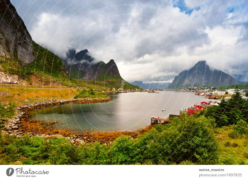 Norway village Reine on a fjord. Nordic cloudy summer day Sky Nature Vacation & Travel Summer Water Ocean Landscape Clouds House (Residential Structure) Far-off places Mountain Meadow Coast Grass Freedom Tourism